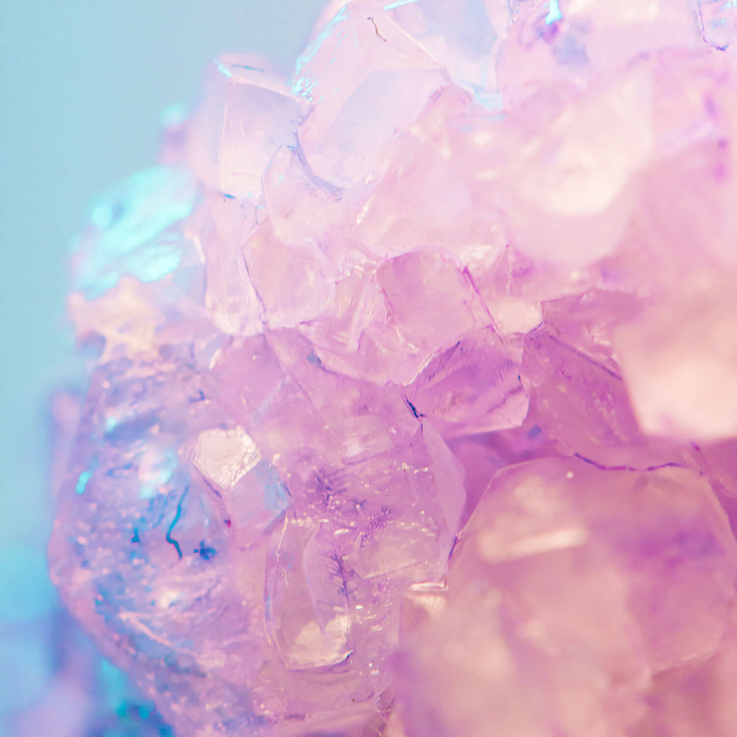 Pale purple, pink and blue crystals