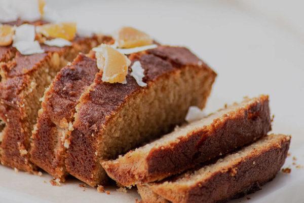 Sliced cake in a loaf shape