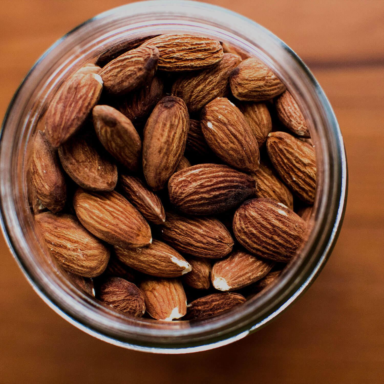 Almond nuts in a jar