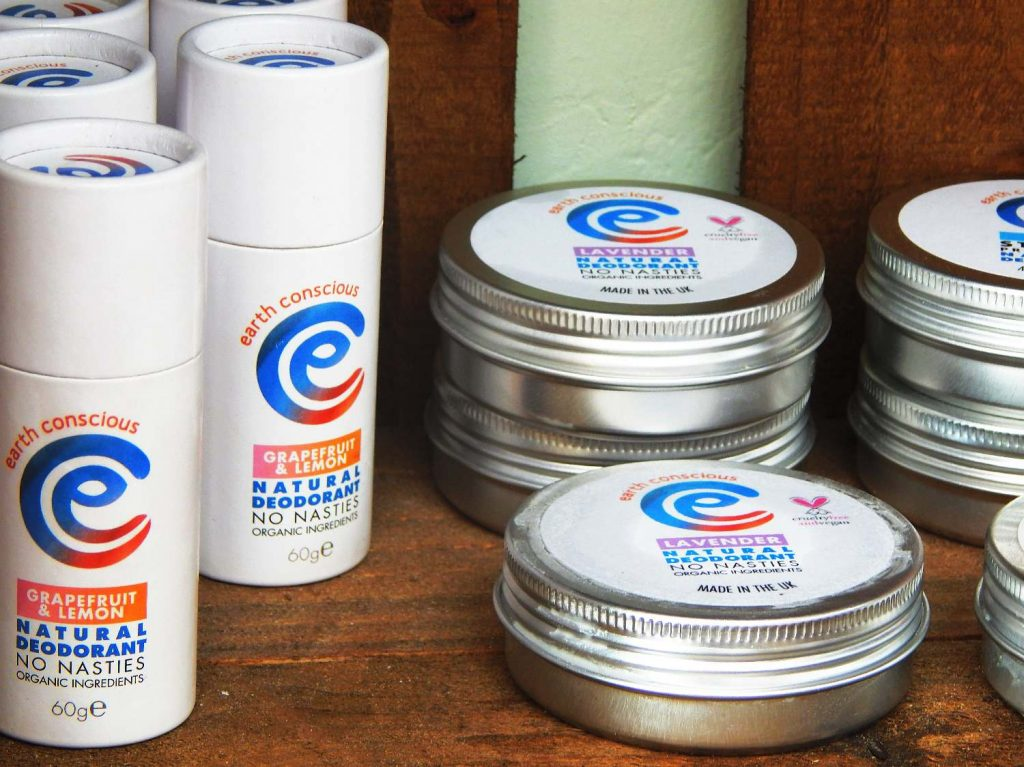Earth Conscious products - deodorant in tins and cardboard tubes
