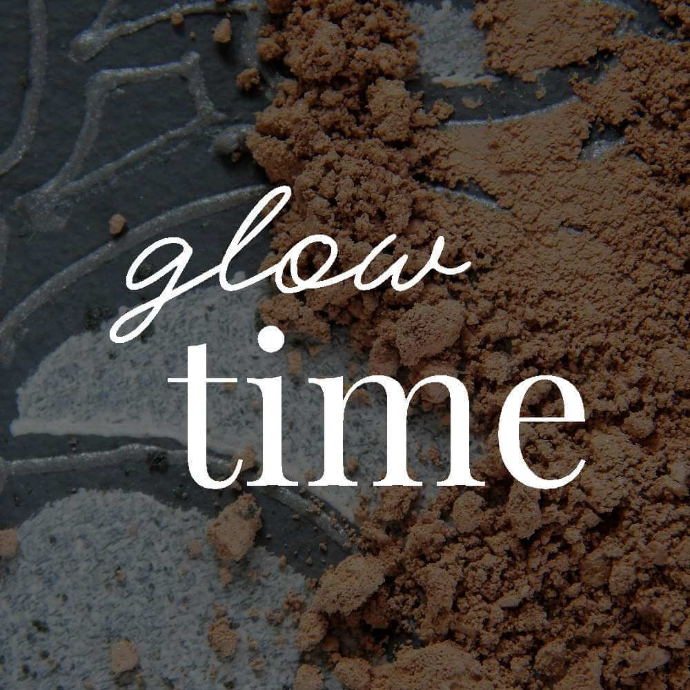 Mineral makeup with text overlaid that reads: 'glow time'