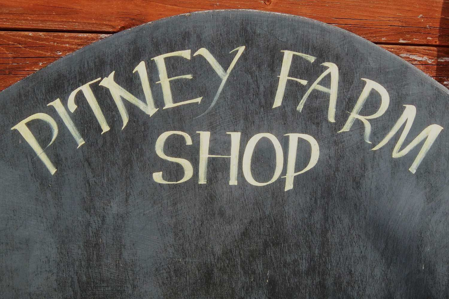 Hand-painted sign for Pitney Farm Shop