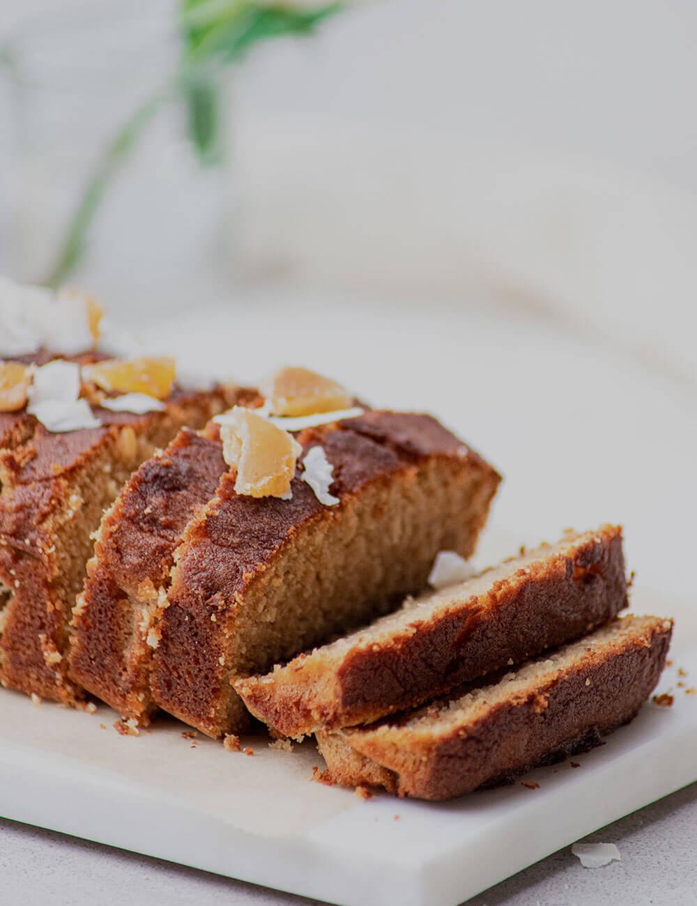 Slices of loaf shaped cake